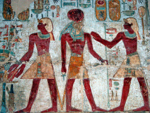 Photo of Egyptian wall painting.
