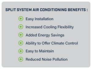 Split system air conditioning benefits.